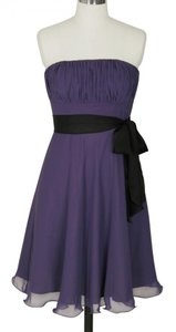 Purple Chiffon Pleated Bust W/ Sash Dress