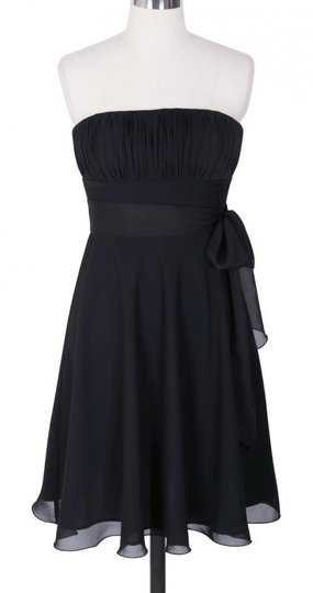 Black Chiffon Pleated Bust W/ Sash Formal Bridesmaid/Mob Dress Size 0 (XS)