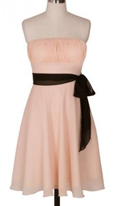 Peach Chiffon Pleated Bust Dress W/ Removable Sash Dress