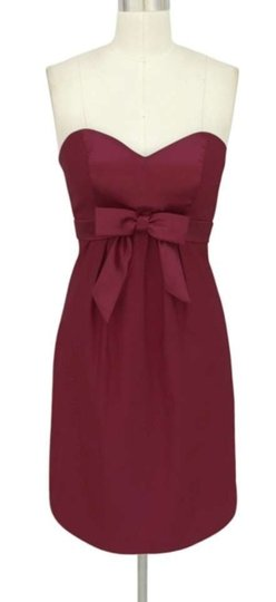 Red Satin Polyester Burgundy Dark Sweetheart Bow Formal Size:med Feminine Bridesmaid/Mob Dress Size 8 (M)