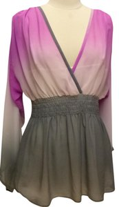 Soft Surroundings Shirred Waist Sheer Top violet/gray
