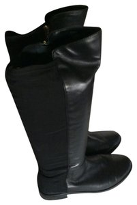 Tahari Leather Stretchy Stretchy Black Boots