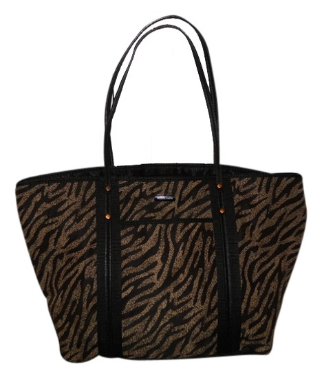 Preload https://item1.tradesy.com/images/franco-sarto-animal-print-black-and-tan-polyester-tote-4229455-0-0.jpg?width=440&height=440