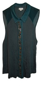 Silence + Noise Versatile Fall Winter Wear To Work Swanky Holiday Party Beads Bead Embellishment + Sleeveless Button Down Shirt Hunter Green