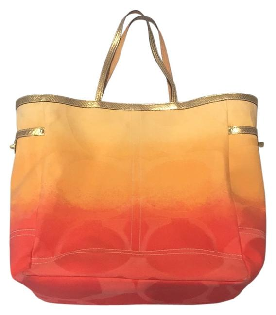 Item - Yellow and Orange Canvas Leather Beach Bag