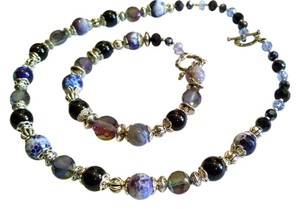 Other Gemstone Necklace Bracelet Set Agate Onyx Purple Silver White 16 Inch Crystals J1072