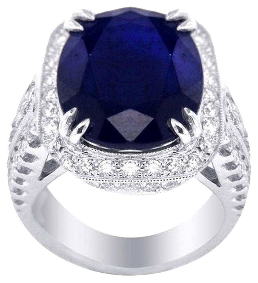 vintage unheated platinum star ring carat pin cocktail sapphire
