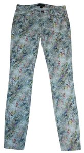 bebe Kardashian Water Color Jeans 00 Xxs 24 Colorful Skinny Pants White