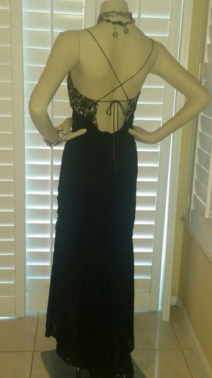 Sue Wong Black/ Nude Silk Nocturne Sexy Bridesmaid/Mob Dress Size 6 (S)