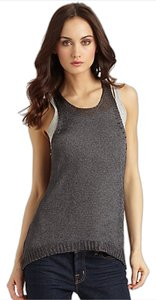 Vince Racerback Sweater Top Metallic Grey