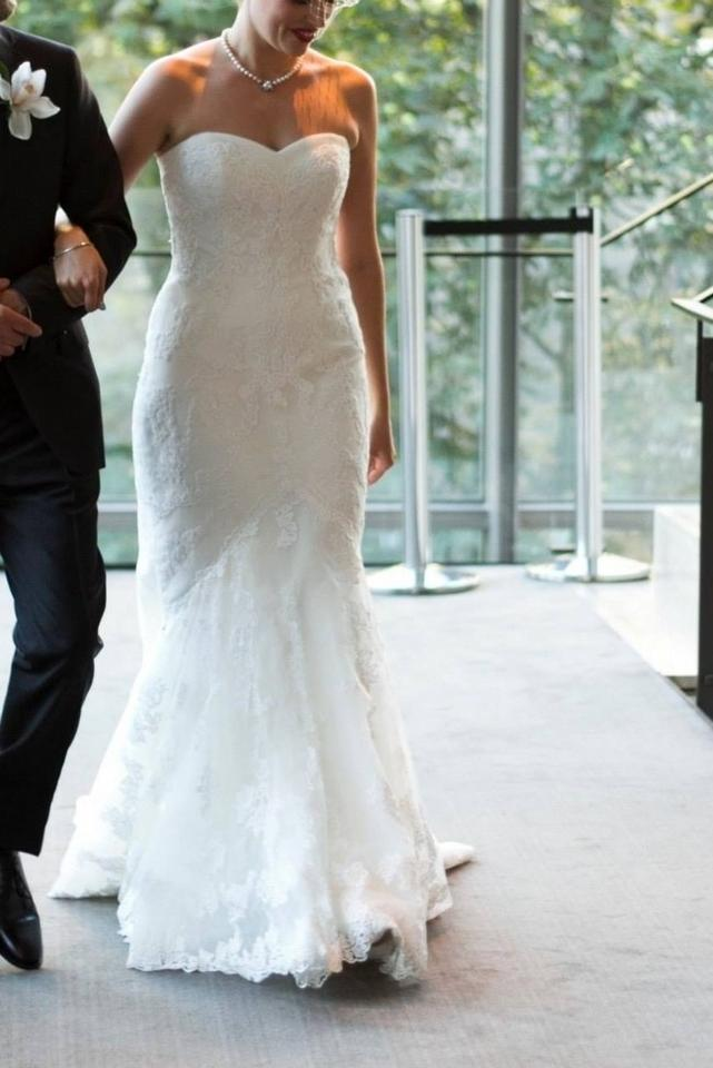 La Sposa Off White Lace Mullet Feminine Wedding Dress Size 12 (L ...