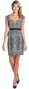 Betsey Johnson Neoprene-like Exposed Zipper Sweetheart Neck Croc-print Sheath Dress