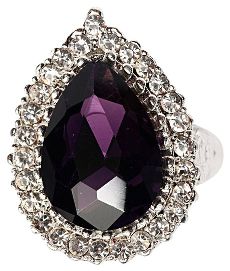 Other Genuine Amethyst pear cut with white sapphire halo set in sterling silver statement ring