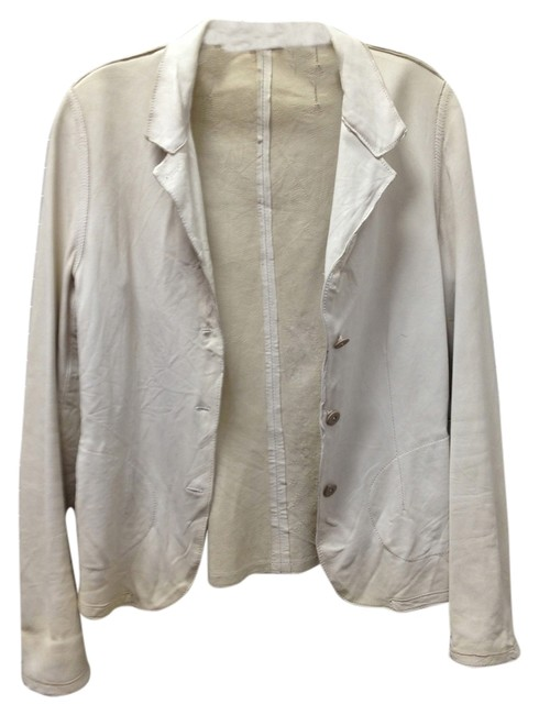 BLUR Leather Italy Beige with a tint of Green Blazer