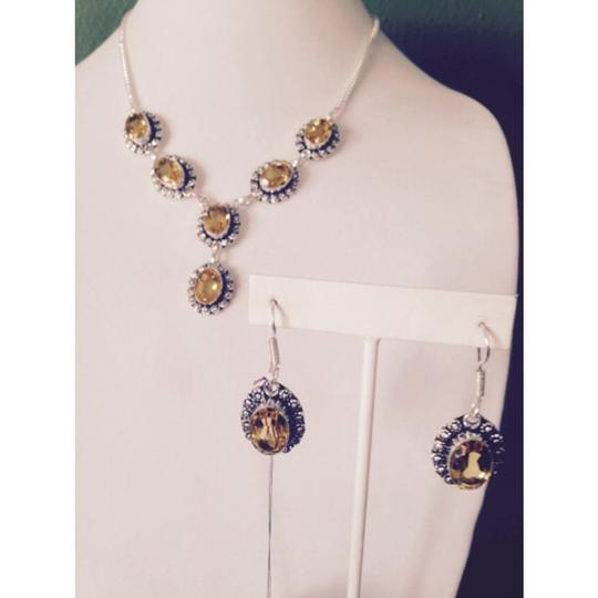 My Closet- Embellished by Leecia Embellished by Leecia 2-Piece Set, Golden Citrine In Sterling Necklace & Earrings