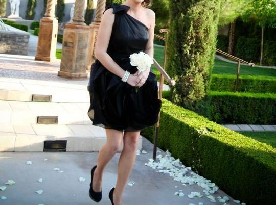 Vera Wang Black Organza One Shoulder Belt Style V Formal Bridesmaid/Mob Dress Size 8 (M)