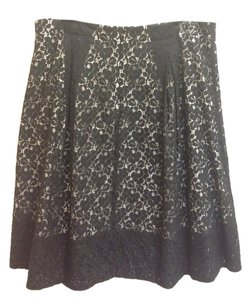 Talbots Lace A-line Knee Length Skirt Black and Cream