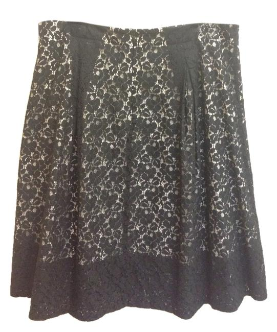 Talbots Lace A-line Skirt Black and Cream