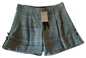 Anthropologie Cuffed Shorts Blue and green plaid with red, yellow, and brown accents