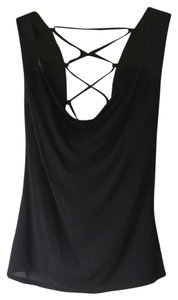 bebe Small Scoop Crisscoss Rocker Chic Sexy Stylish Top black
