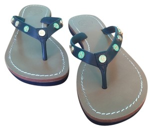 Tory Burch Ricki Flip Flop Leather Blue Navy Bright Navy Sandals
