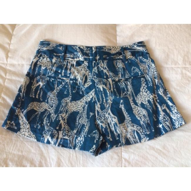 Anthropologie Silk Giraffe Teal Dress Shorts Blue and Ivory