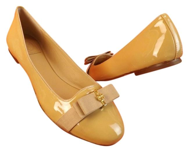 Tory Burch Camellia Pink Nude Patent Leather Trudy Bow Gold Reva Smoking Flats Size US 8 Regular (M, B) Tory Burch Camellia Pink Nude Patent Leather Trudy Bow Gold Reva Smoking Flats Size US 8 Regular (M, B) Image 1