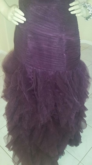 Purple/ Eggplant Polyester with Tulle Custom-made Formal Bridesmaid/Mob Dress Size Petite 4 (S)