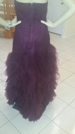 Purple/ Eggplant Polyester with Tulle Custom-made Formal Dress Size Petite 4 (S)