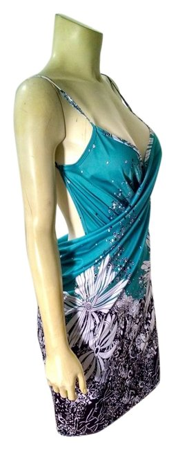 Other short dress Teal, black, White Summer Size Small Wrap Around P1495 on Tradesy
