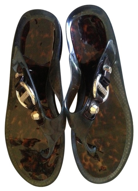 Item - Tourtoise Shell and Gray Sandals Size US 10