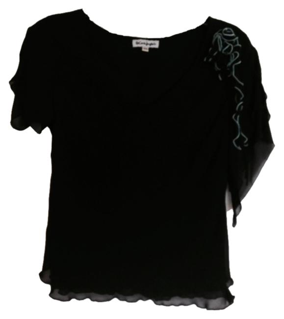 Preload https://item3.tradesy.com/images/black-and-teal-shirt-blouse-size-12-l-4235677-0-0.jpg?width=400&height=650