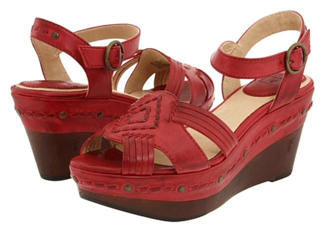 Item - Red Carlie Huarache Ankle Leather Wedges Size US 5.5 Regular (M, B)