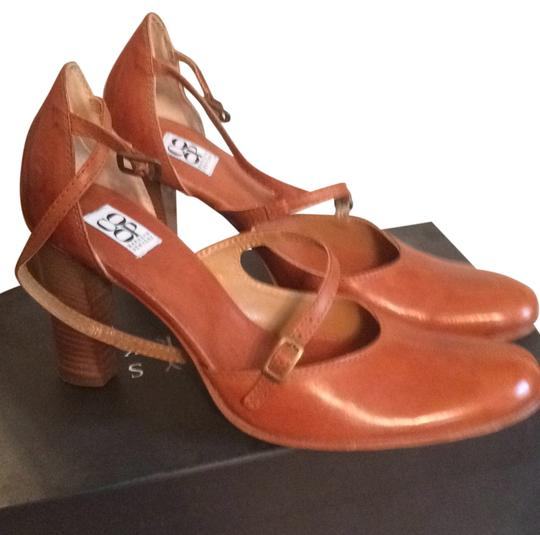 Barneys Co-Op Ankle Strap Stacked Heel Rich brown Pumps