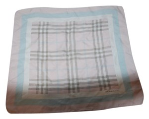 Burberry BURBERRY PINK/GRAY/WHITE SILK PLAID SCARF