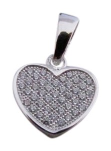 White Gold Rhodium Over Sterling Silver CZ Heart Pendant