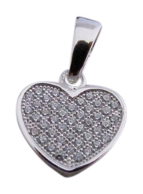 White Gold Rhodium Over Sterling Silver Cz Heart Pendant Charm White Gold Rhodium Over Sterling Silver Cz Heart Pendant Charm Image 1
