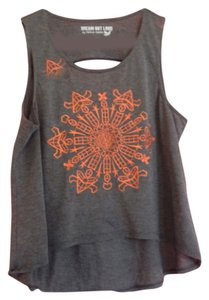 Dream out loud by Selena Gomez Crop Embroidered Boho Bohemian Cut-out Top Grey