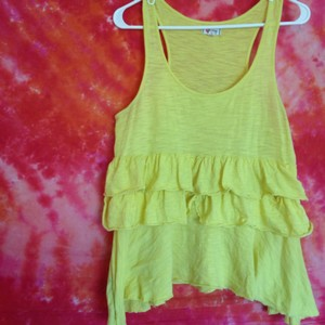 OlsenBoye Tiered Flutter Ruffle Cotton Top Yellow