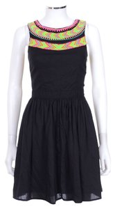 Mara Hoffman short dress Black Embroidered Cut Out on Tradesy