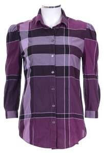 Burberry Brit Nova Check 3/4 Sleeve Button Down Top