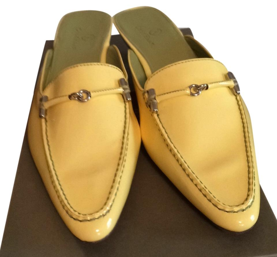 Cole Patent Haan Pale Yellow Patent Cole Leather Mules/Slides 7d1c52