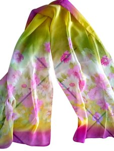New Scarf Silk Blend Summer Pink Green White 60 in. Floral P1498
