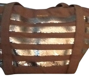 MZ Wallace Satchel in Light Cocoa Brown With Silver Sequin Stripes