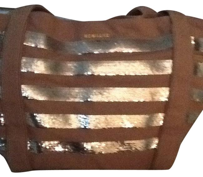 Item - Light Cocoa Brown with Silver Sequin Stripes Heavy Cotton Canvaswith and Leather Bindings Satchel