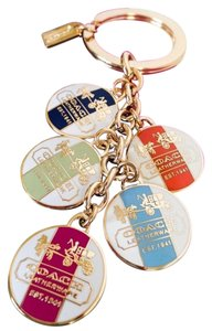 Coach Coach Heritage Stripe Multi Color Disks Key Fob Keychain Charm