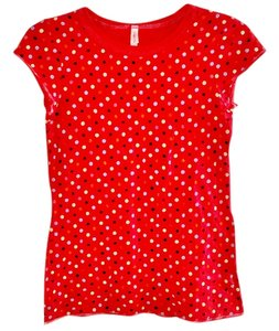 Xhilaration Bright Cotton Polka Dot T Shirt red