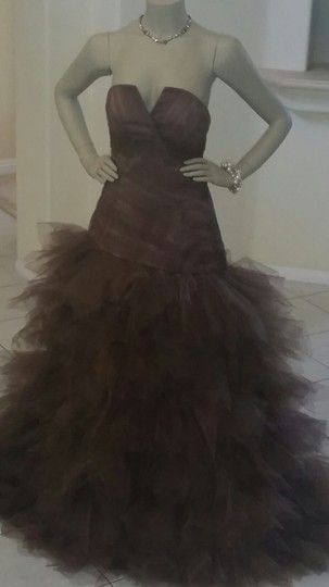 Mocha Brown Polyester/ Satin with Tulle Custom Made Formal Bridesmaid/Mob Dress Size 8 (M)