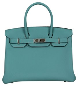 Hermès Togo Leather Silver Hdw Birkin 30 Cm Twilly Tote in blue atoll
