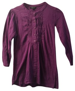 Topshop Cotton Soft Classic Comfortable Button Down Shirt Purple